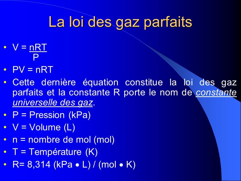 La loi des gaz parfaits En combinant la loi de Boyle-Mariotte, la loi de Charles et la loi dAvogadro on obtient le rapport suivant: v (1/p) x T x n