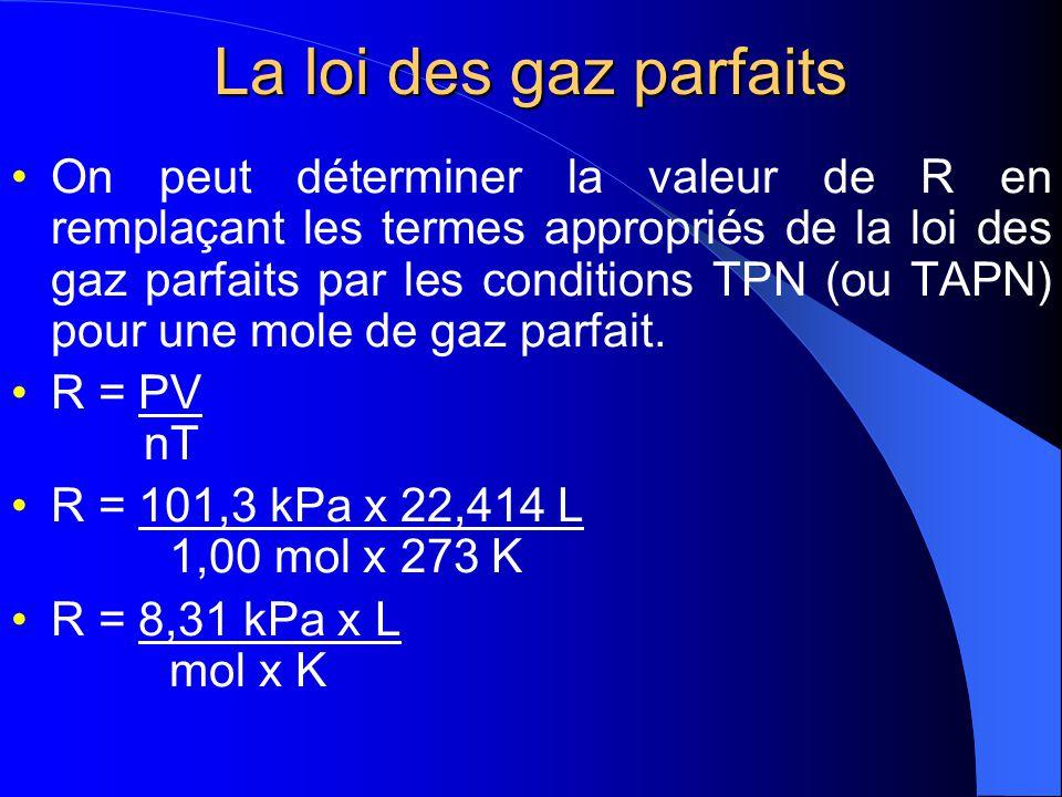 La loi des gaz parfaits V = nRT P PV = nRT Cette dernière équation constitue la loi des gaz parfaits et la constante R porte le nom de constante universelle des gaz.