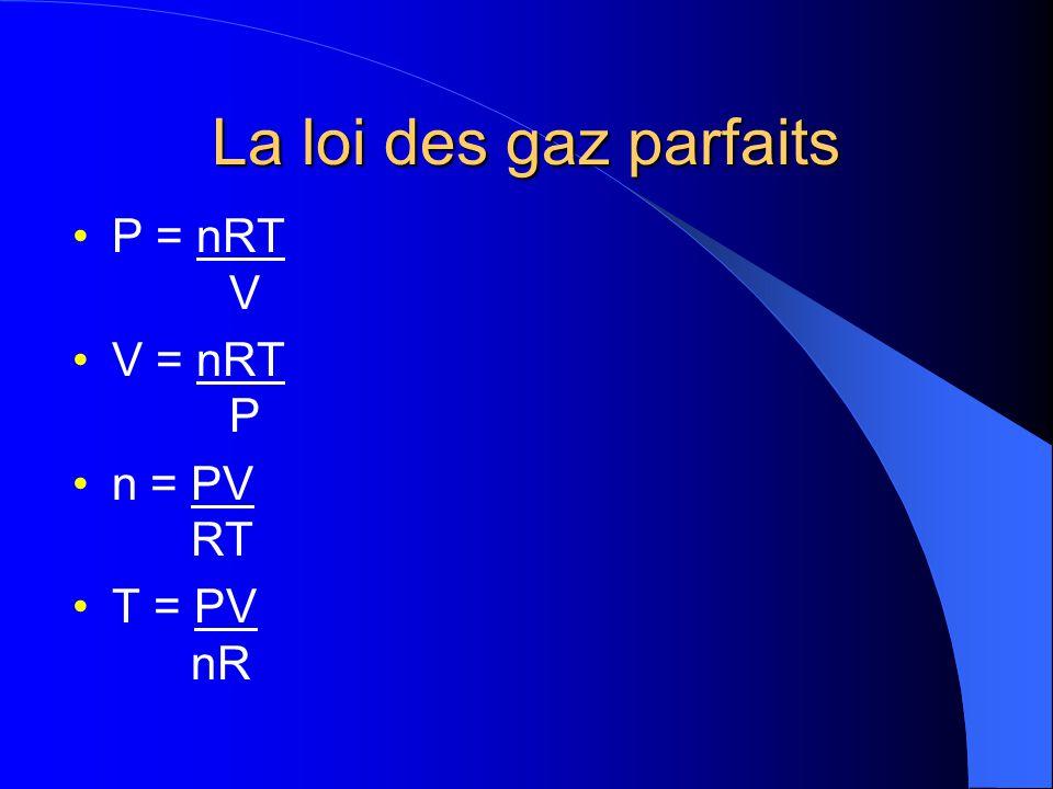 La loi des gaz parfaits On peut déterminer la valeur de R en remplaçant les termes appropriés de la loi des gaz parfaits par les conditions TPN (ou TAPN) pour une mole de gaz parfait.