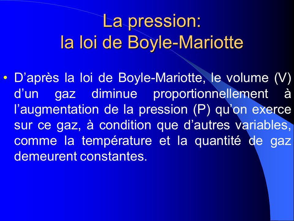 La pression: la loi de Boyle-Mariotte La pression est la force qui agit sur une unité de surface. Lunité du SI est le kilopascal (kPa). On utilise aus