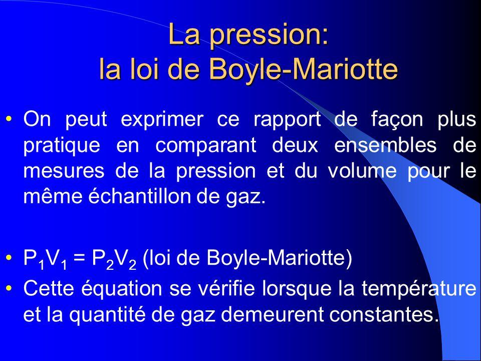 La pression : la loi de Boyle-Mariotte P α 1 V Boyle 1662 PV = constant