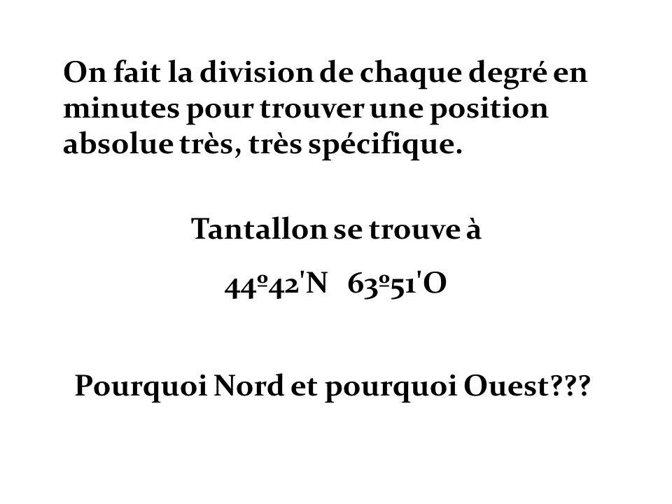 On fait la division de chaque degré en minutes pour trouver une position absolue très, très spécifique. Tantallon se trouve à 44º42'N 63º51'O Pourquoi