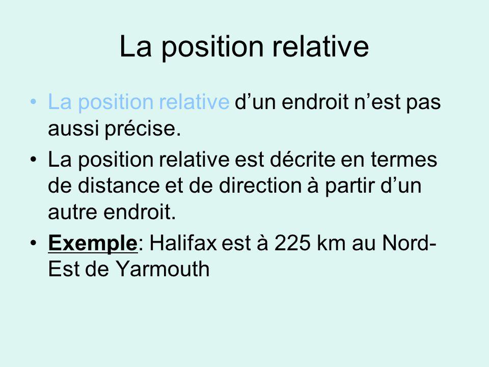 La position relative La position relative dun endroit nest pas aussi précise. La position relative est décrite en termes de distance et de direction à