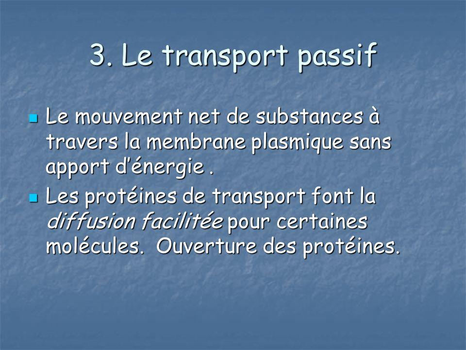 3. Le transport passif Le mouvement net de substances à travers la membrane plasmique sans apport dénergie. Le mouvement net de substances à travers l