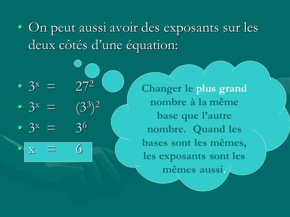 On peut aussi avoir des exposants sur les deux côtés dune équation:On peut aussi avoir des exposants sur les deux côtés dune équation: 3 x =27 23 x =27 2 3 x =(3 3 ) 23 x =(3 3 ) 2 3 x =3 63 x =3 6 x=6x=6 Changer le plus grand nombre à la même base que lautre nombre.