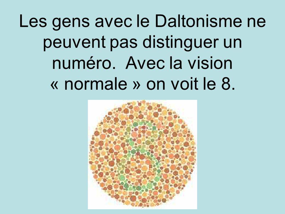 Les gens avec le Daltonisme ne peuvent pas distinguer un numéro. Avec la vision « normale » on voit le 8.