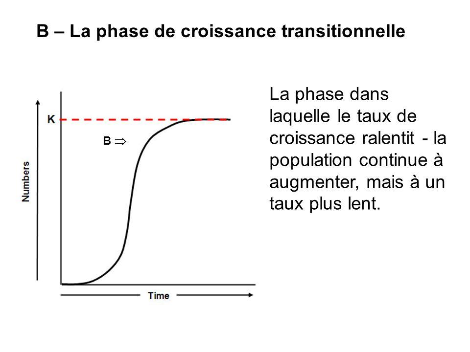 B – La phase de croissance transitionnelle La phase dans laquelle le taux de croissance ralentit - la population continue à augmenter, mais à un taux