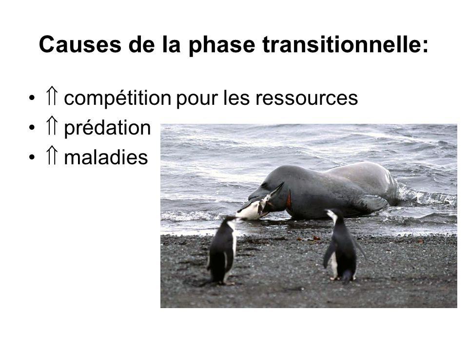 Causes de la phase transitionnelle: compétition pour les ressources prédation maladies