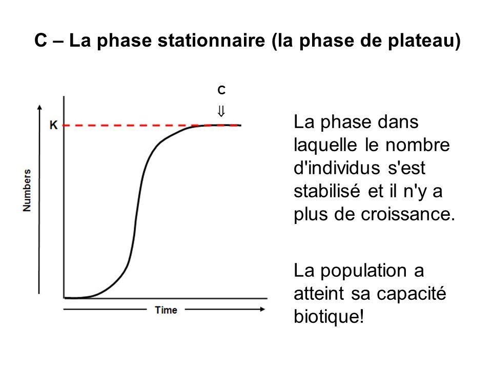 C – La phase stationnaire (la phase de plateau) La phase dans laquelle le nombre d'individus s'est stabilisé et il n'y a plus de croissance. La popula