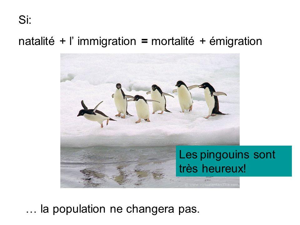 Si: natalité + l immigration = mortalité + émigration … la population ne changera pas. Les pingouins sont très heureux!