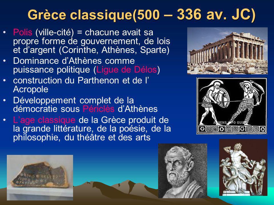 Grèce classique(500 – 336 av. JC) Polis (ville-cité) = chacune avait sa propre forme de gouvernement, de lois et dargent (Corinthe, Athènes, Sparte) D