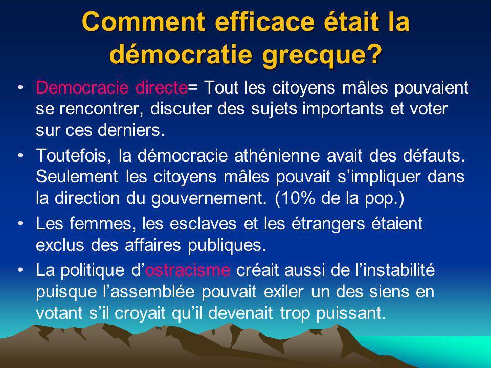 Comment efficace était la démocratie grecque? Democracie directe= Tout les citoyens mâles pouvaient se rencontrer, discuter des sujets importants et v