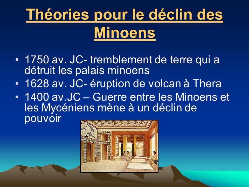 Théories pour le déclin des Minoens 1750 av. JC- tremblement de terre qui a détruit les palais minoens 1628 av. JC- éruption de volcan à Thera 1400 av