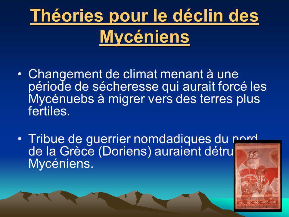 Théories pour le déclin des Mycéniens Changement de climat menant à une période de sécheresse qui aurait forcé les Mycénuebs à migrer vers des terres