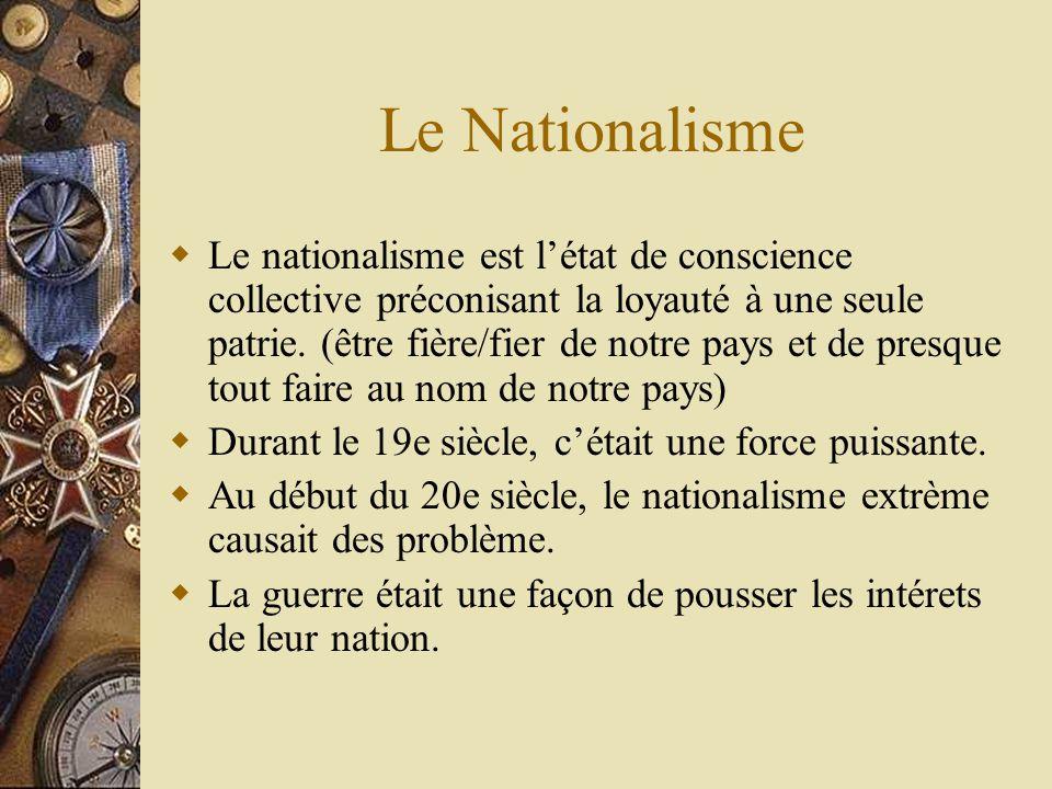 Le Nationalisme Le nationalisme est létat de conscience collective préconisant la loyauté à une seule patrie.