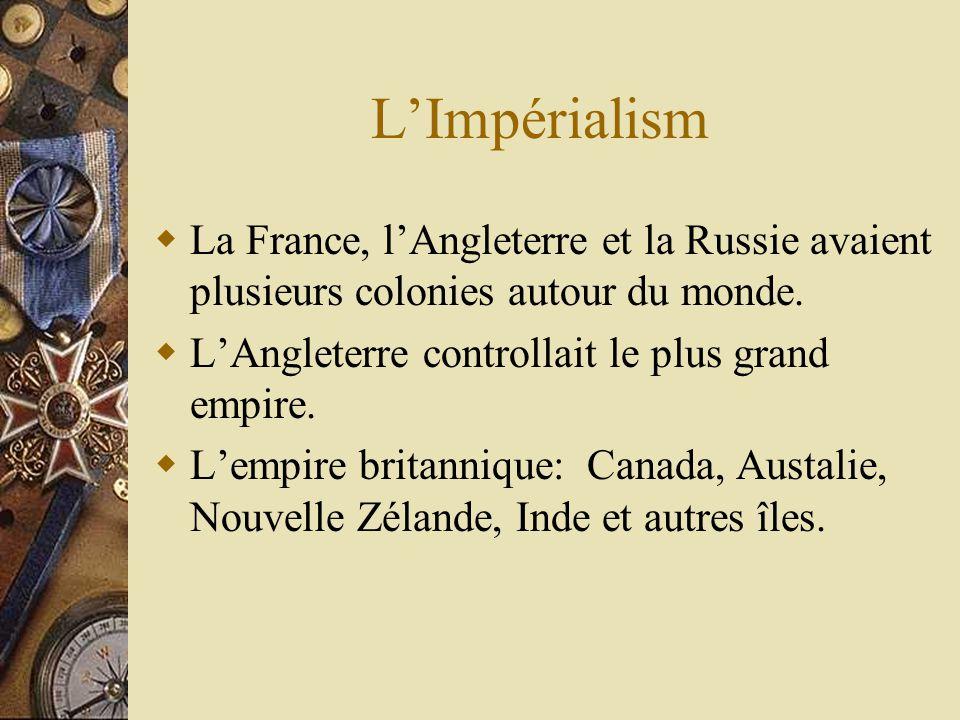 LImpérialism La France, lAngleterre et la Russie avaient plusieurs colonies autour du monde.