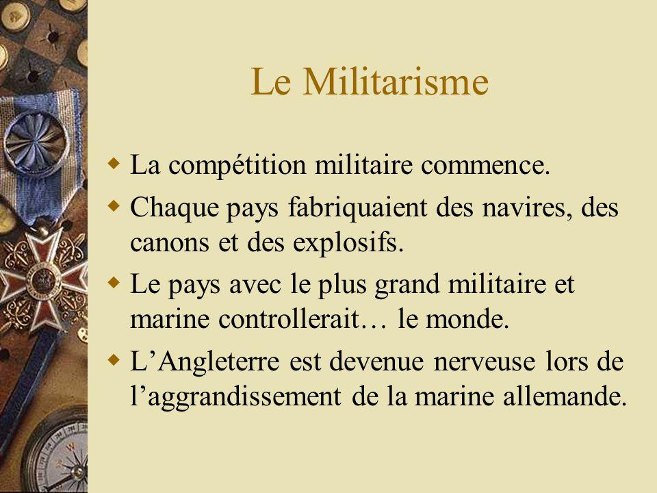 Le Militarisme La compétition militaire commence.
