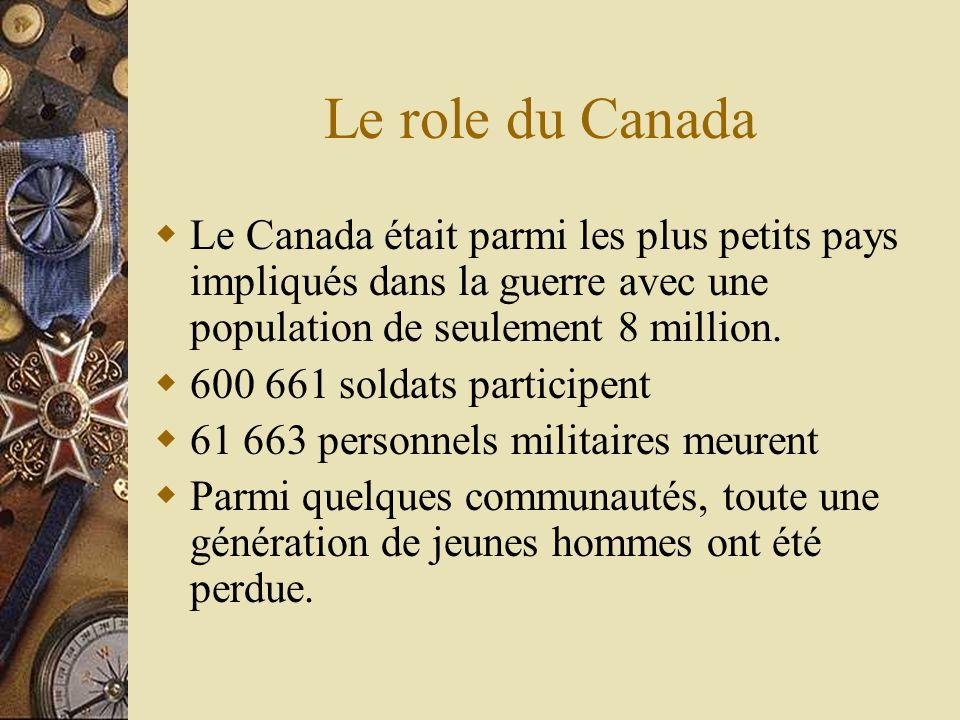 Le role du Canada Le Canada était parmi les plus petits pays impliqués dans la guerre avec une population de seulement 8 million.