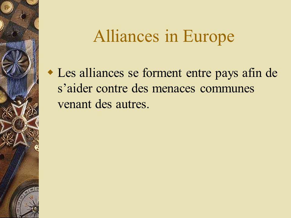 Alliances in Europe Les alliances se forment entre pays afin de saider contre des menaces communes venant des autres.