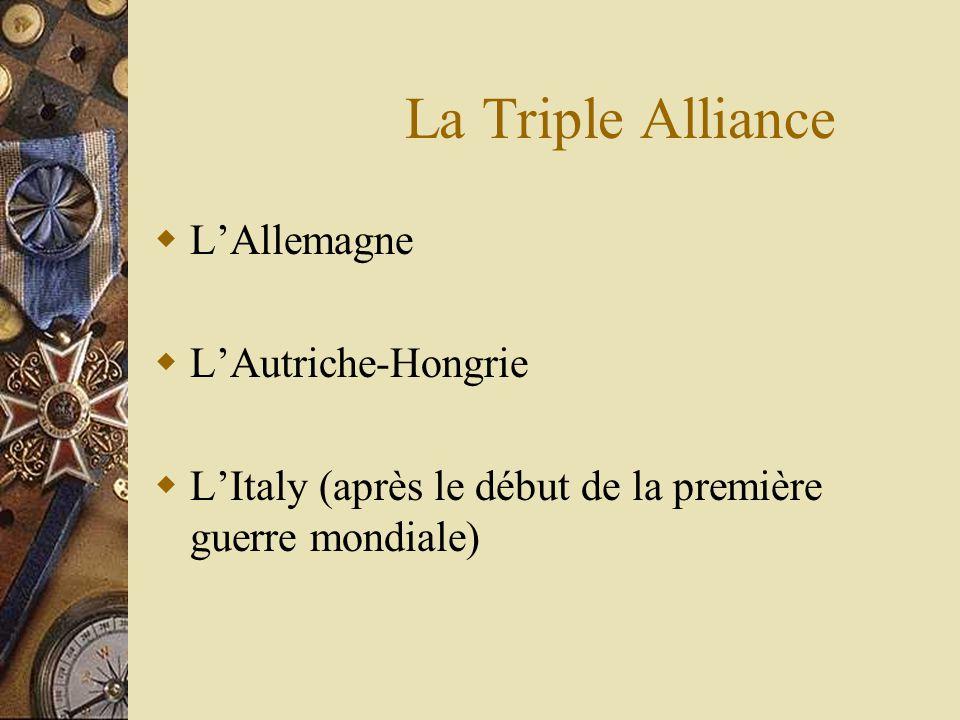 La Triple Alliance LAllemagne LAutriche-Hongrie LItaly (après le début de la première guerre mondiale)