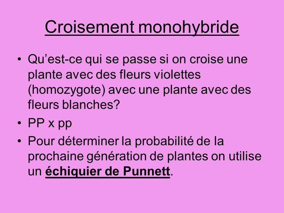 Croisement monohybride Quest-ce qui se passe si on croise une plante avec des fleurs violettes (homozygote) avec une plante avec des fleurs blanches?