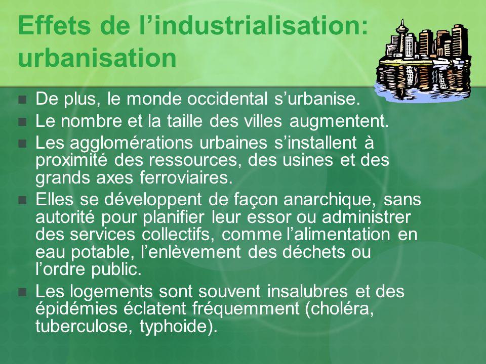 Effets de lindustrialisation: urbanisation De plus, le monde occidental surbanise. Le nombre et la taille des villes augmentent. Les agglomérations ur