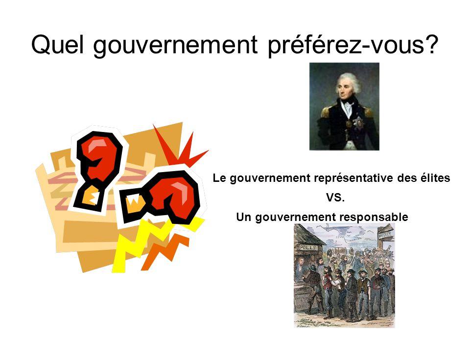 Quel gouvernement préférez-vous. Le gouvernement représentative des élites VS.