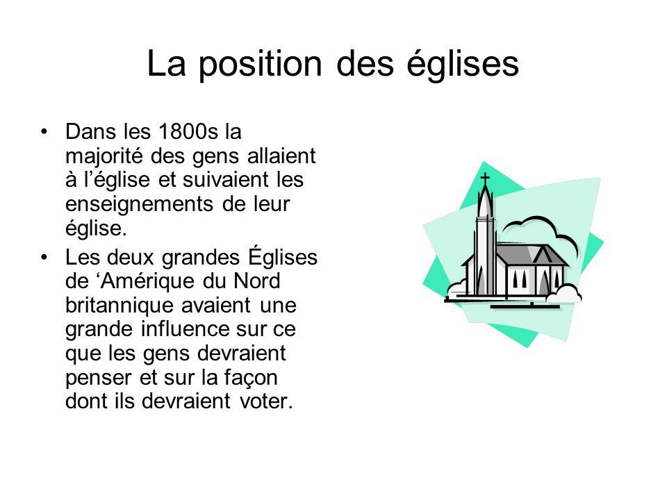 La position des églises Dans les 1800s la majorité des gens allaient à léglise et suivaient les enseignements de leur église.