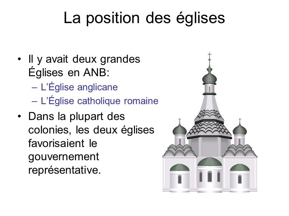 La position des églises Il y avait deux grandes Églises en ANB: –LÉglise anglicane –LÉglise catholique romaine Dans la plupart des colonies, les deux églises favorisaient le gouvernement représentative.
