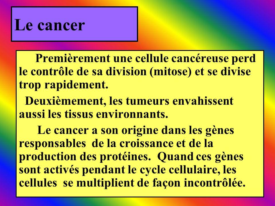 Le cancer Premièrement une cellule cancéreuse perd le contrôle de sa division (mitose) et se divise trop rapidement. Deuxièmement, les tumeurs envahis