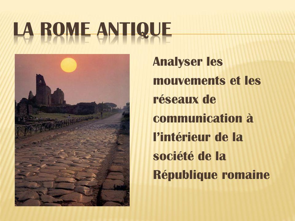 Analyser les mouvements et les réseaux de communication à lintérieur de la société de la République romaine