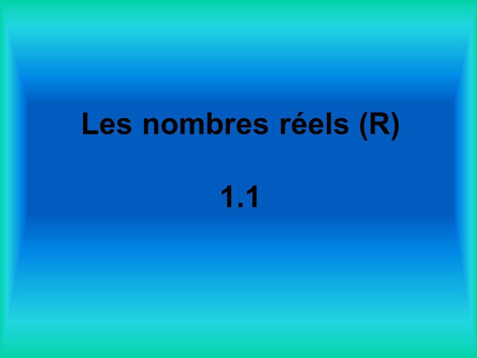 Les nombres réels (R) 1.1