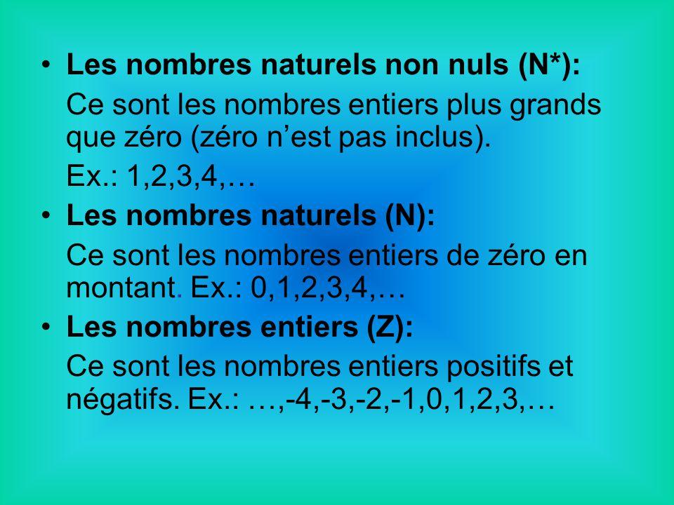 Les nombres naturels non nuls (N*): Ce sont les nombres entiers plus grands que zéro (zéro nest pas inclus). Ex.: 1,2,3,4,… Les nombres naturels (N):