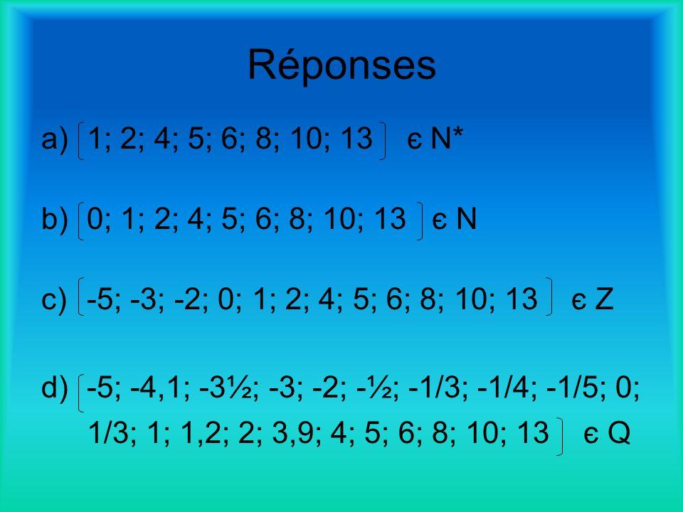 Réponses a)1; 2; 4; 5; 6; 8; 10; 13 є N* b)0; 1; 2; 4; 5; 6; 8; 10; 13 є N c)-5; -3; -2; 0; 1; 2; 4; 5; 6; 8; 10; 13 є Z d)-5; -4,1; -3½; -3; -2; -½;