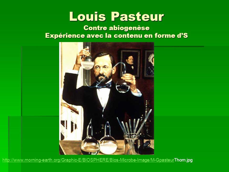 Louis Pasteur Contre abiogenèse Expérience avec la contenu en forme dS http://www.morning-earth.org/Graphic-E/BIOSPHERE/Bios-Microbe-Image/M-Gpasteurh