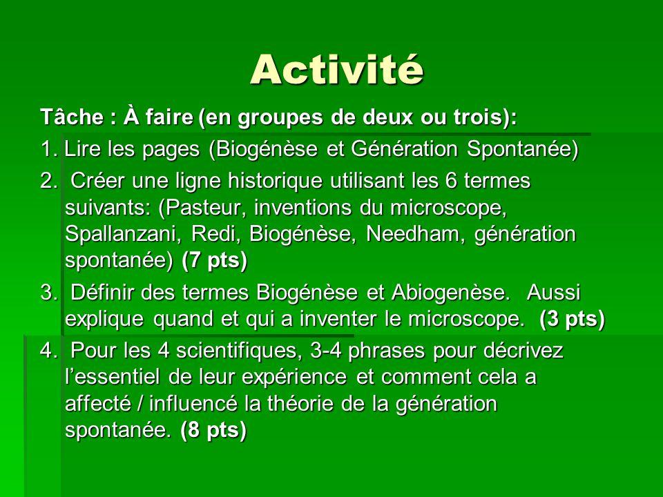 Activité Tâche : À faire (en groupes de deux ou trois): 1. Lire les pages (Biogénèse et Génération Spontanée) 2. Créer une ligne historique utilisant