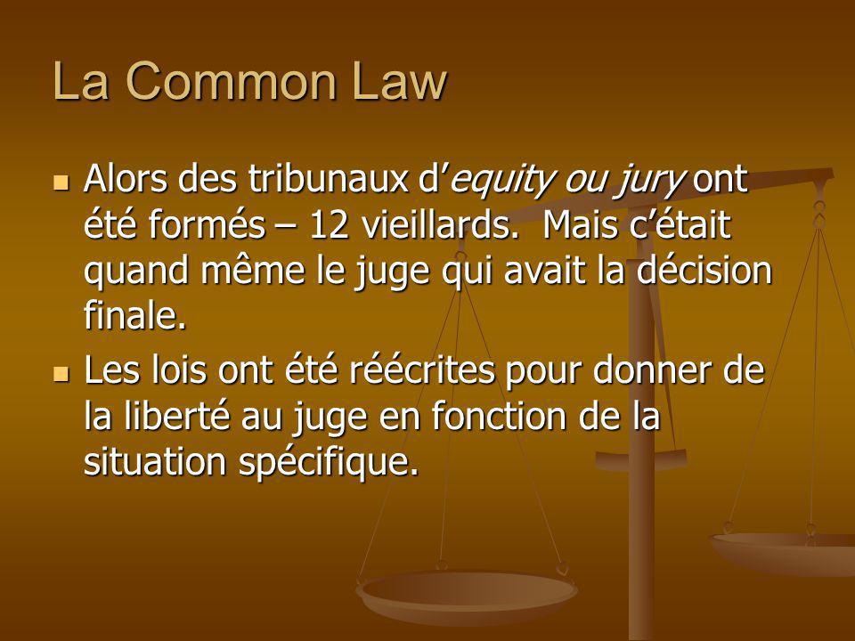 La Common Law Alors des tribunaux dequity ou jury ont été formés – 12 vieillards. Mais cétait quand même le juge qui avait la décision finale. Alors d