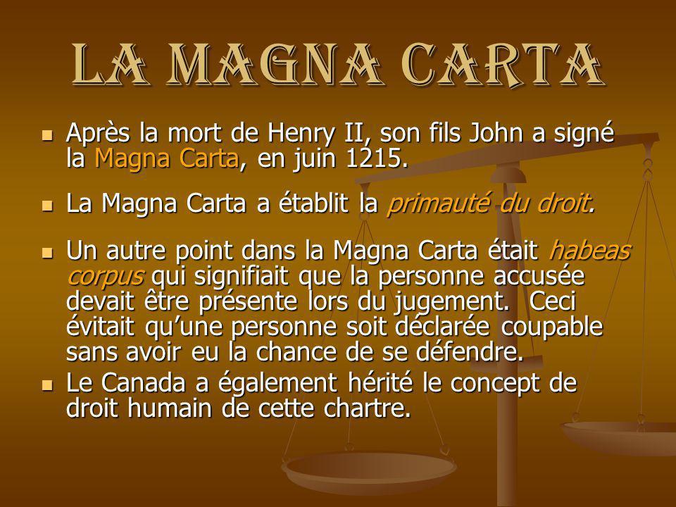 La Magna Carta Après la mort de Henry II, son fils John a signé la Magna Carta, en juin 1215. Après la mort de Henry II, son fils John a signé la Magn