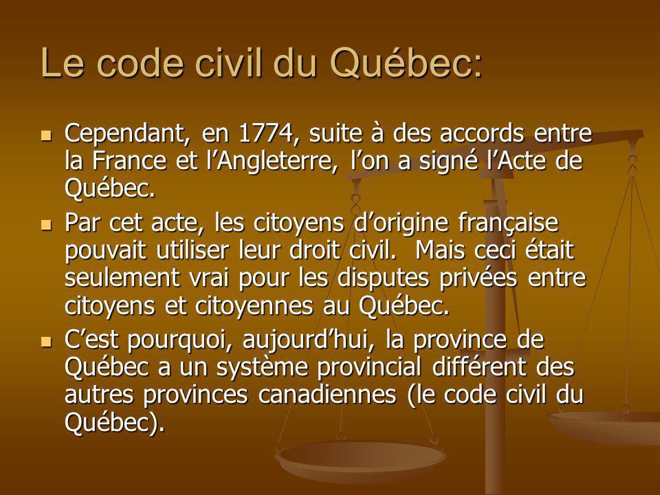Le code civil du Québec: Cependant, en 1774, suite à des accords entre la France et lAngleterre, lon a signé lActe de Québec. Cependant, en 1774, suit