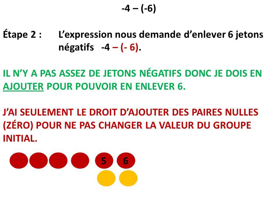 -4 – (-6) Étape 2 : Lexpression nous demande denlever 6 jetons négatifs -4 – (- 6). IL NY A PAS ASSEZ DE JETONS NÉGATIFS DONC JE DOIS EN AJOUTER POUR