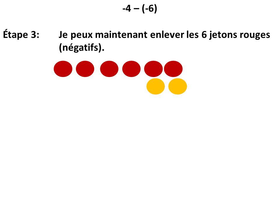 -4 – (-6) Étape 3: Je peux maintenant enlever les 6 jetons rouges (négatifs).