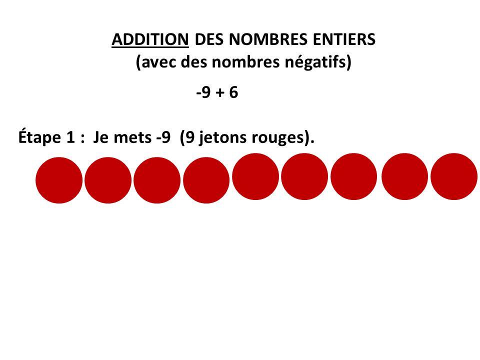 ADDITION DES NOMBRES ENTIERS (avec des nombres négatifs) -9 + 6 Étape 1 : Je mets -9 (9 jetons rouges).