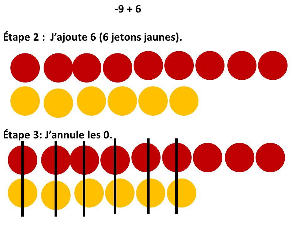 -9 + 6 Étape 2 : Jajoute 6 (6 jetons jaunes). Étape 3: Jannule les 0.