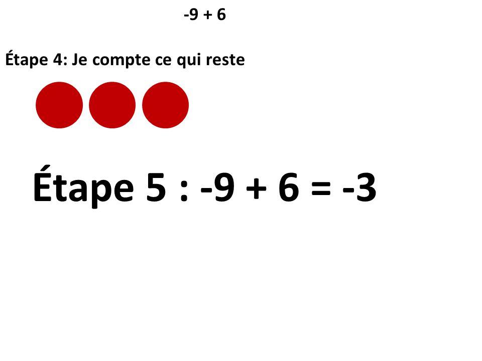 -9 + 6 Étape 4: Je compte ce qui reste Étape 5 : -9 + 6 = -3