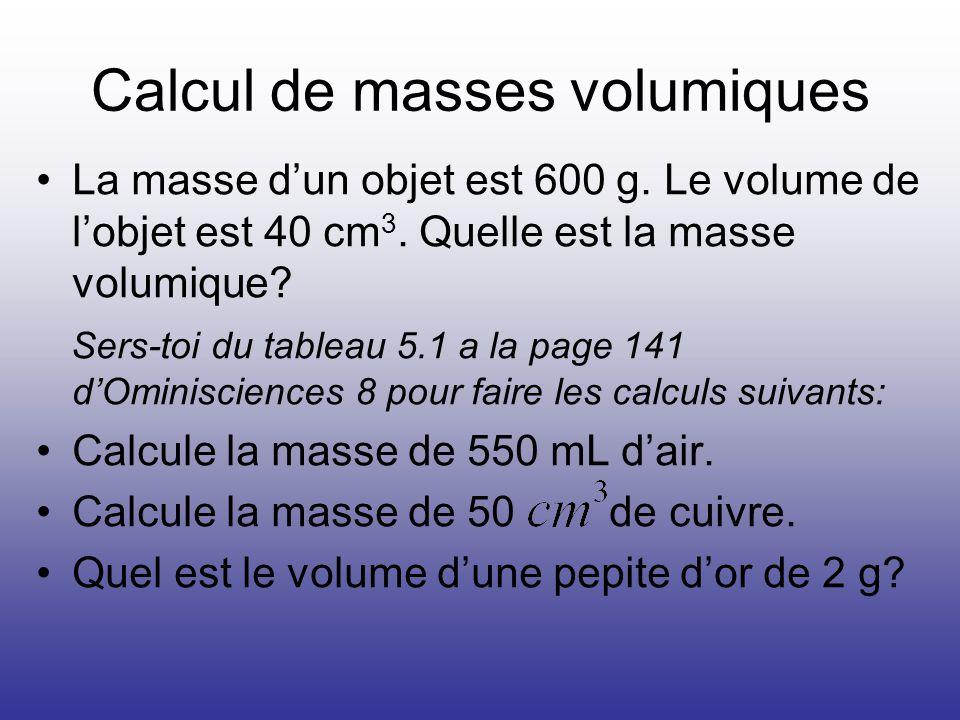 Calcul de masses volumiques La masse dun objet est 600 g. Le volume de lobjet est 40 cm 3. Quelle est la masse volumique? Sers-toi du tableau 5.1 a la