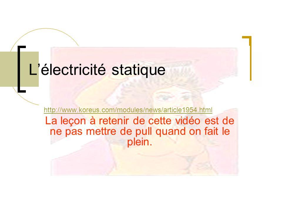 Lélectricité statique http://www.koreus.com/modules/news/article1954.html La leçon à retenir de cette vidéo est de ne pas mettre de pull quand on fait