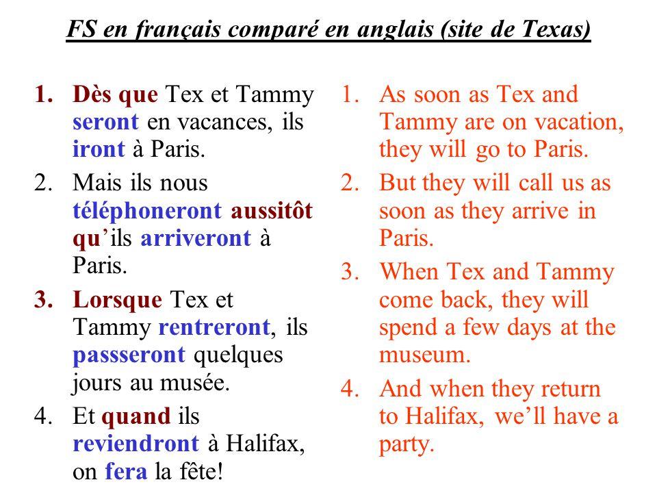FS en français comparé en anglais (site de Texas) 1.Dès que Tex et Tammy seront en vacances, ils iront à Paris. 2.Mais ils nous téléphoneront aussitôt