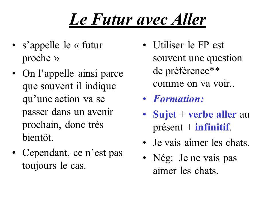 Le Futur avec Aller sappelle le « futur proche » On lappelle ainsi parce que souvent il indique quune action va se passer dans un avenir prochain, don