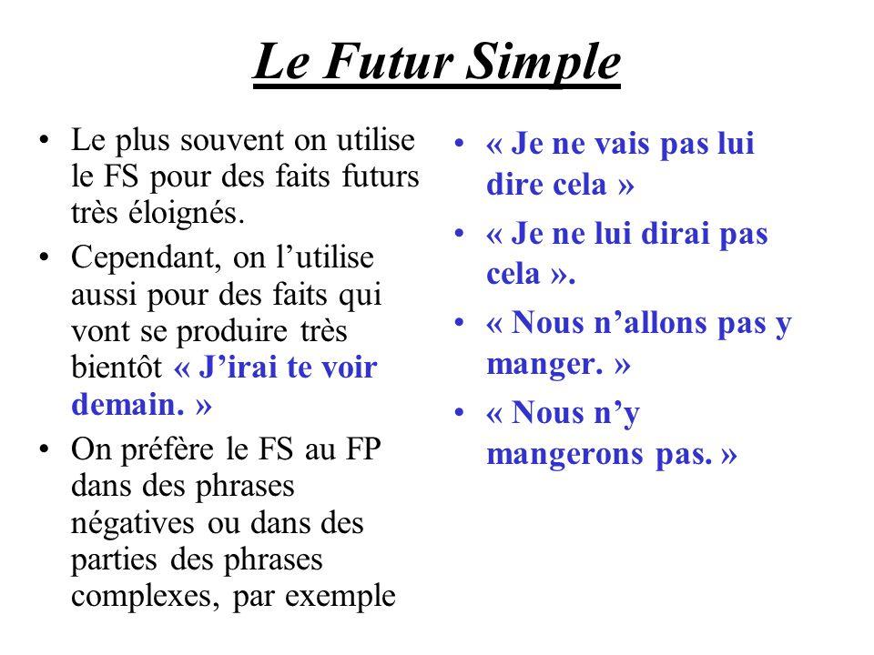 Le Futur Simple Le plus souvent on utilise le FS pour des faits futurs très éloignés. Cependant, on lutilise aussi pour des faits qui vont se produire