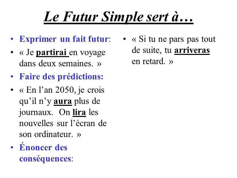 Le Futur Simple sert à… Exprimer un fait futur: « Je partirai en voyage dans deux semaines. » Faire des prédictions: « En lan 2050, je crois quil ny a